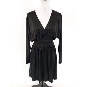 Halston Heritage Black Dolman Plunge Dress